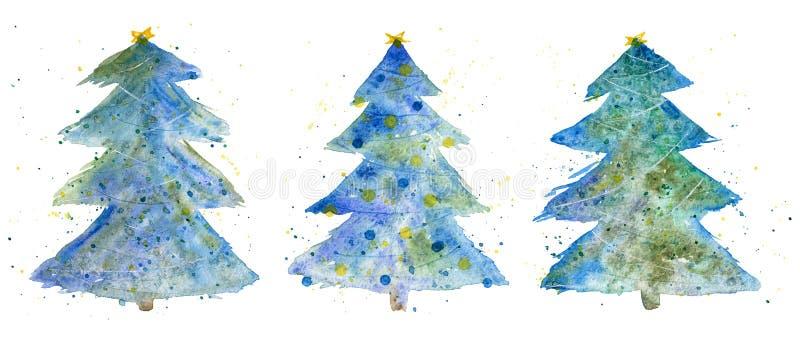 Drei dekorative Weihnachtsbäume Aquarellset vektor abbildung