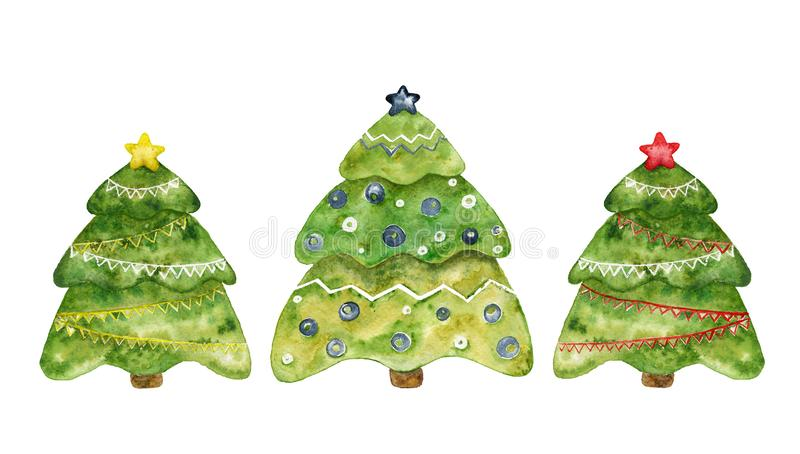 Drei dekorative Weihnachtsbäume Aquarellset stock abbildung