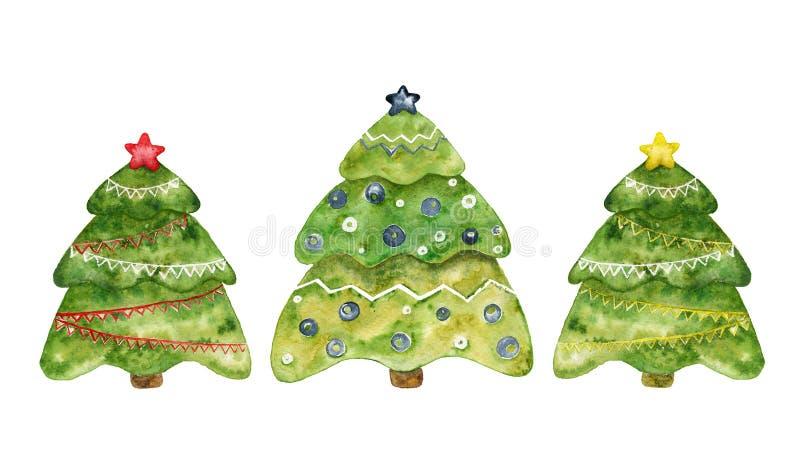 Drei dekorative Weihnachtstannen Aquarellset lizenzfreie abbildung