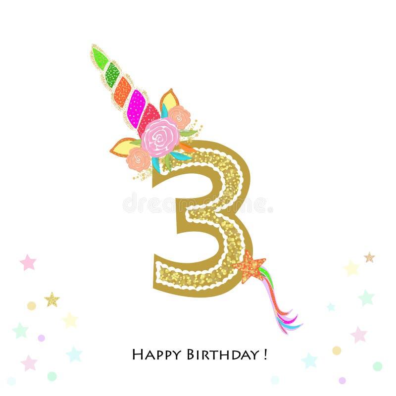 drei Dritter Geburtstag Bunte Einhorngeburtstagseinladung Babyparty, Parteieinladungs-Grußkarte lizenzfreie abbildung