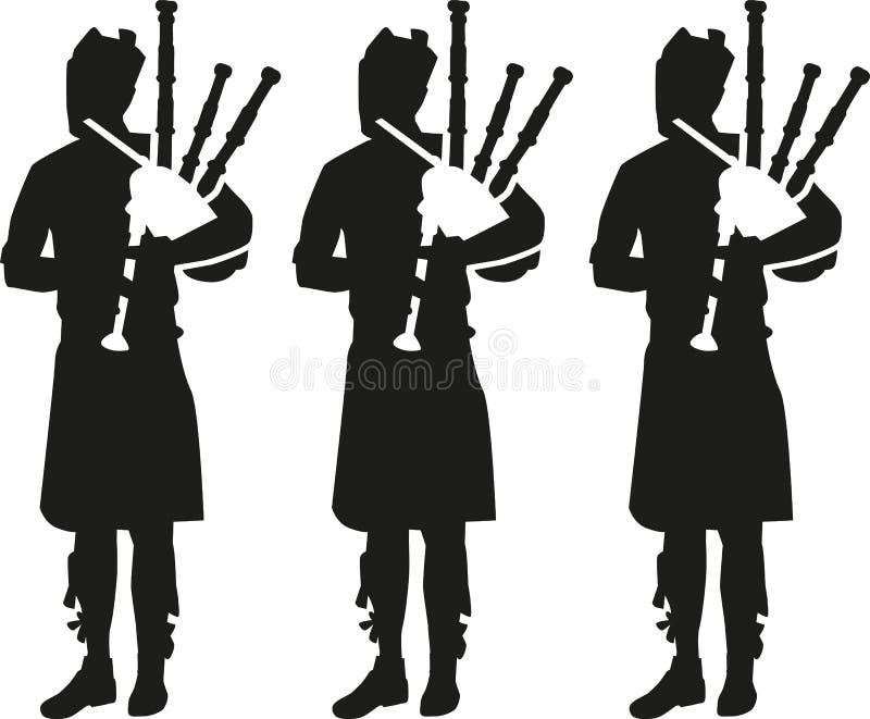 Drei Dudelsackspielerschattenbilder lizenzfreie abbildung