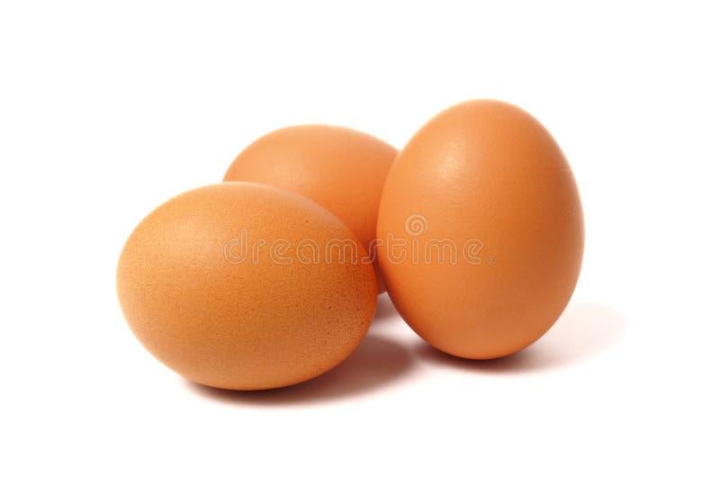 Drei Eier auf Weiß lizenzfreie stockfotografie
