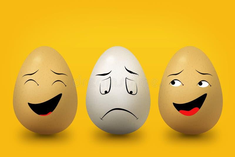 Drei Eier Gelb und Weiß stock abbildung