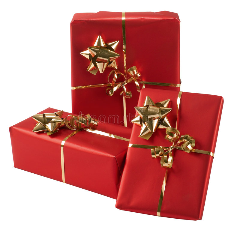 Drei eingewickelte Geschenke lizenzfreie stockfotos