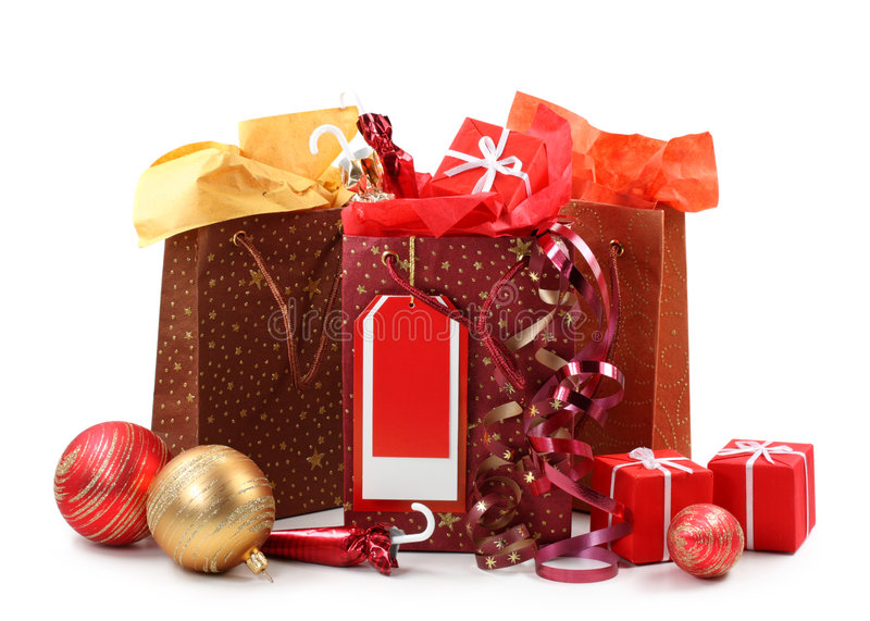 Drei Einkaufenbeutel mit Geschenken stockfoto