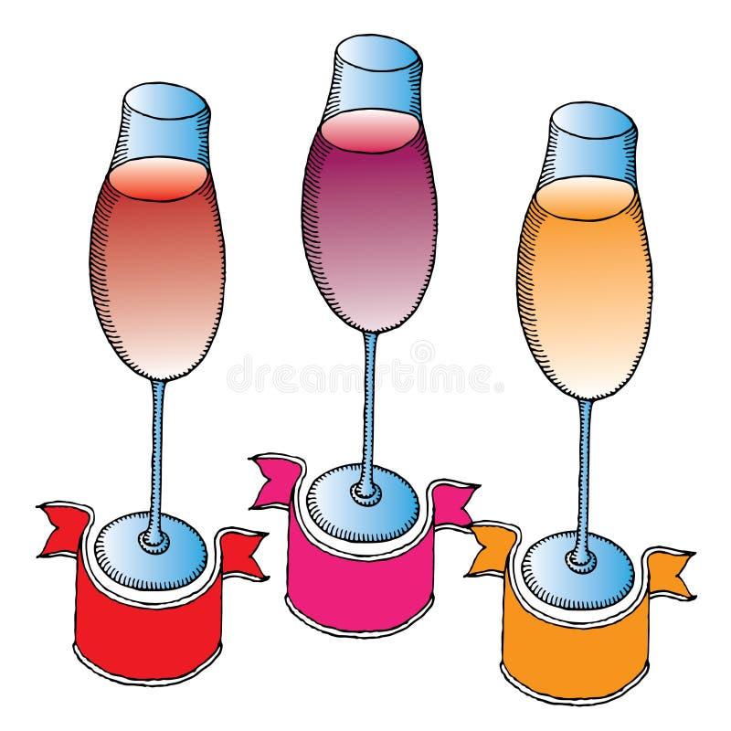 Drei elegante Weingläser mit Markenfahnen stock abbildung
