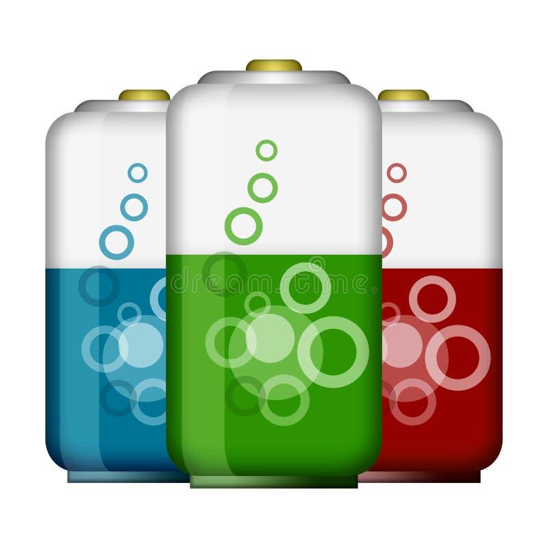 Drei elektrische Batterien stockfoto