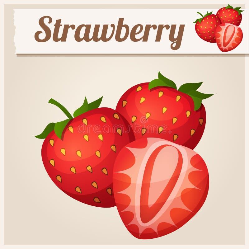 Drei Erdbeeren Ausführliche Vektor-Ikone lizenzfreie abbildung