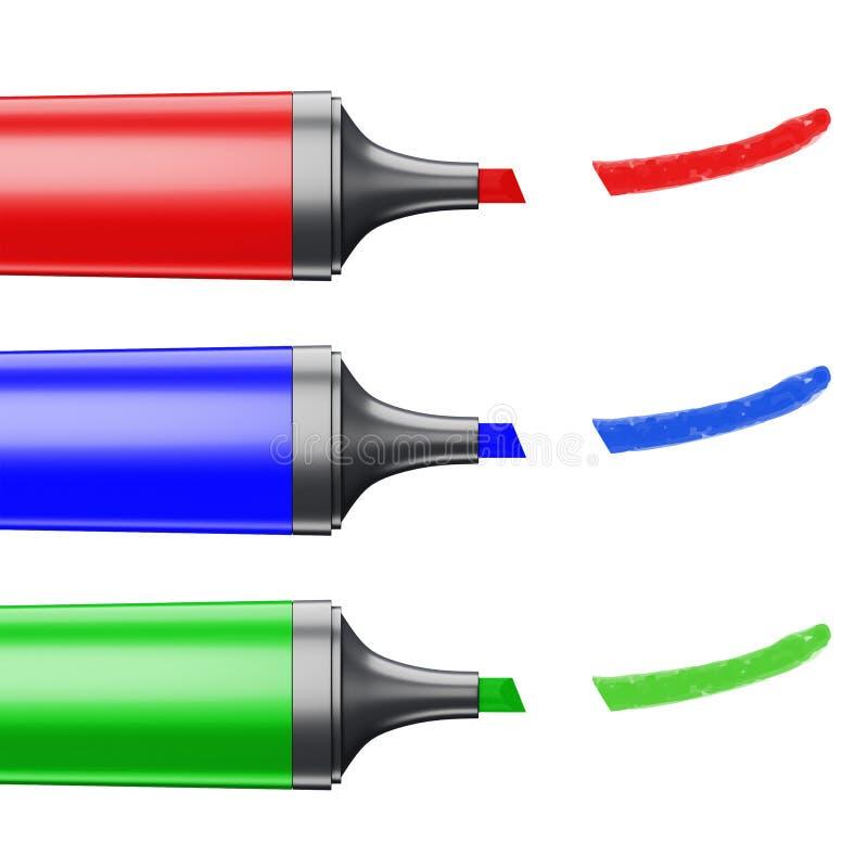Drei färbten die Markierungen, die eine Linie auf einem weißen Hintergrund darstellen vektor abbildung