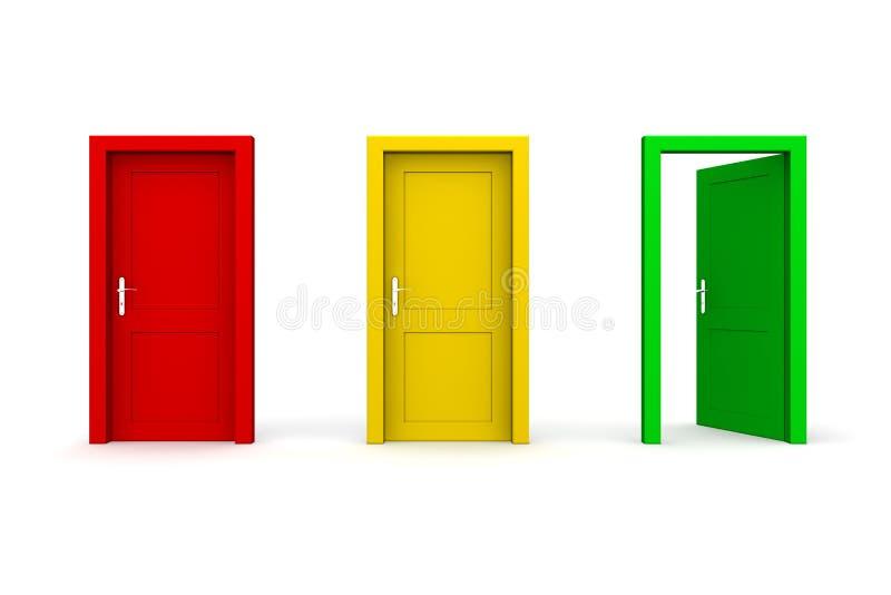 Drei färbten Türen - geöffnetes Grün vektor abbildung