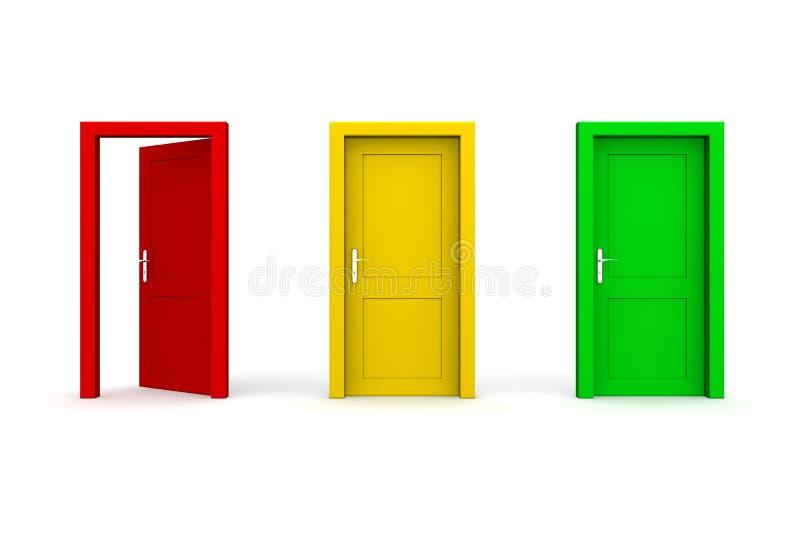 Drei färbten Türen - geöffnetes Rot lizenzfreie abbildung