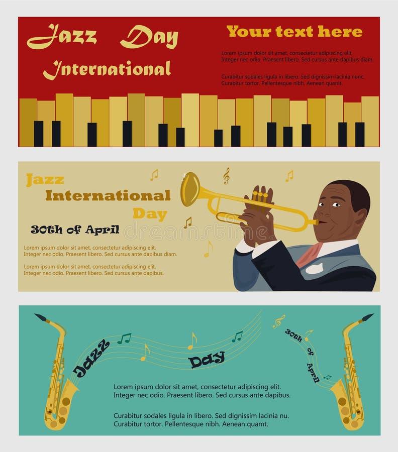 Drei Fahnen für Jazz International Day mit Saxophonen, Klavier und dem Musiker, der das Saxophon pkaying ist vektor abbildung