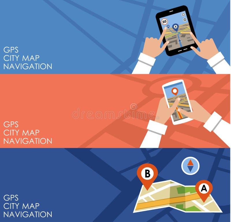 Drei Fahnen mit GPS nearsighted lizenzfreie abbildung