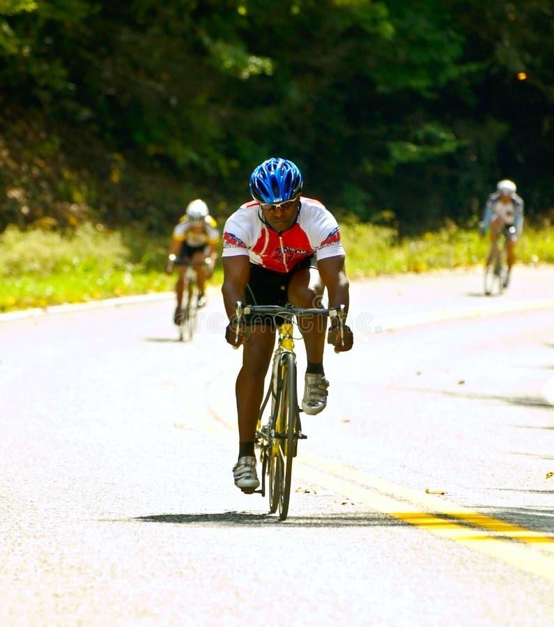Drei Fahrrad-Mitfahrer stockfotografie