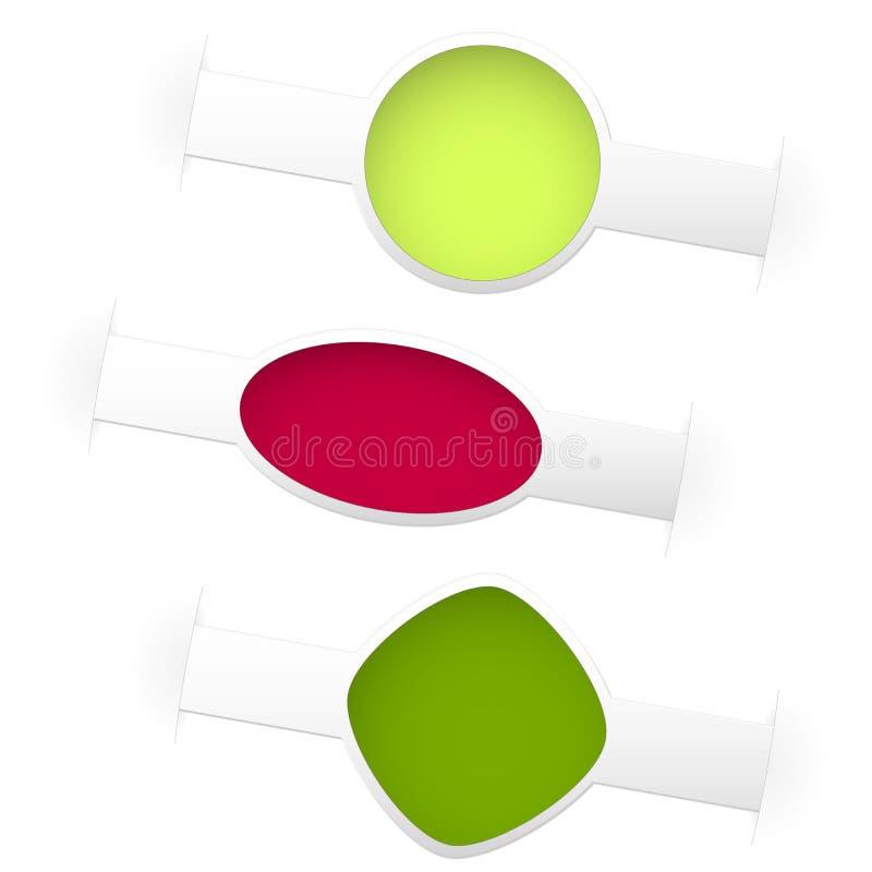 Drei Farbfrühlingsaufkleber stock abbildung