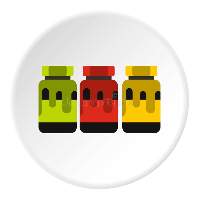 Drei Farbgouache in der Glasikone, flache Art vektor abbildung