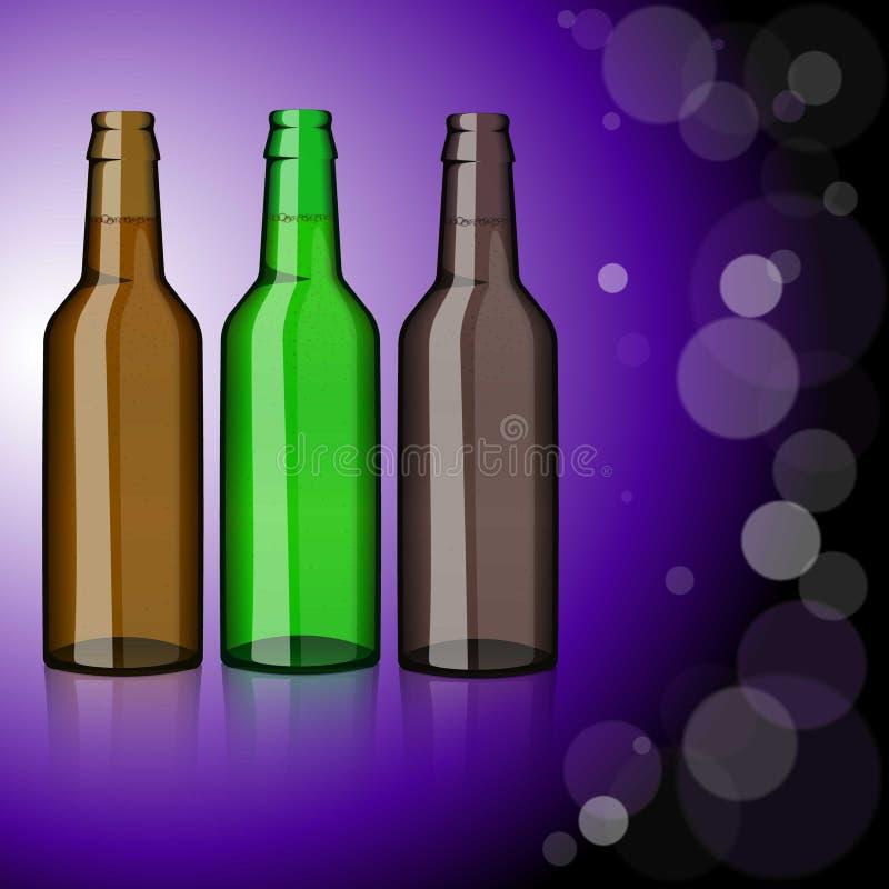Drei Flaschen Bier erfrischung stock abbildung