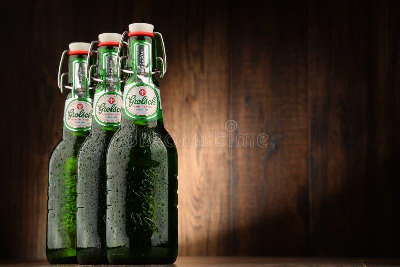 Drei Flaschen Grolsch-Bier lizenzfreie stockfotografie