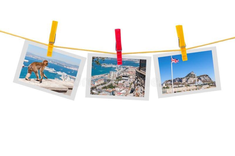 Drei Fotos Gibraltar auf Wäscheleine lizenzfreies stockbild