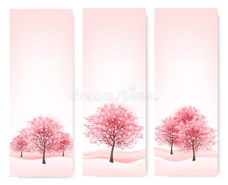 Drei Frühlingsfahnen mit blühenden Kirschblüte-Bäumen. vektor abbildung