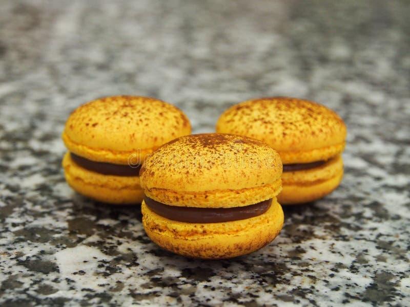 Drei Franzosen Macarons stockbild