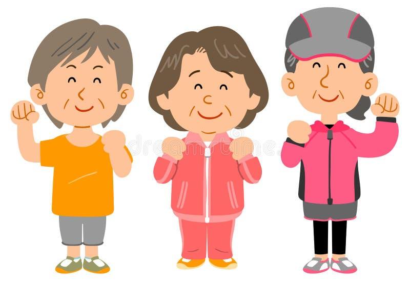 Drei Frauen, die Sportkleidung, ganzen Körper von mittlerem Alter tragen lizenzfreie abbildung