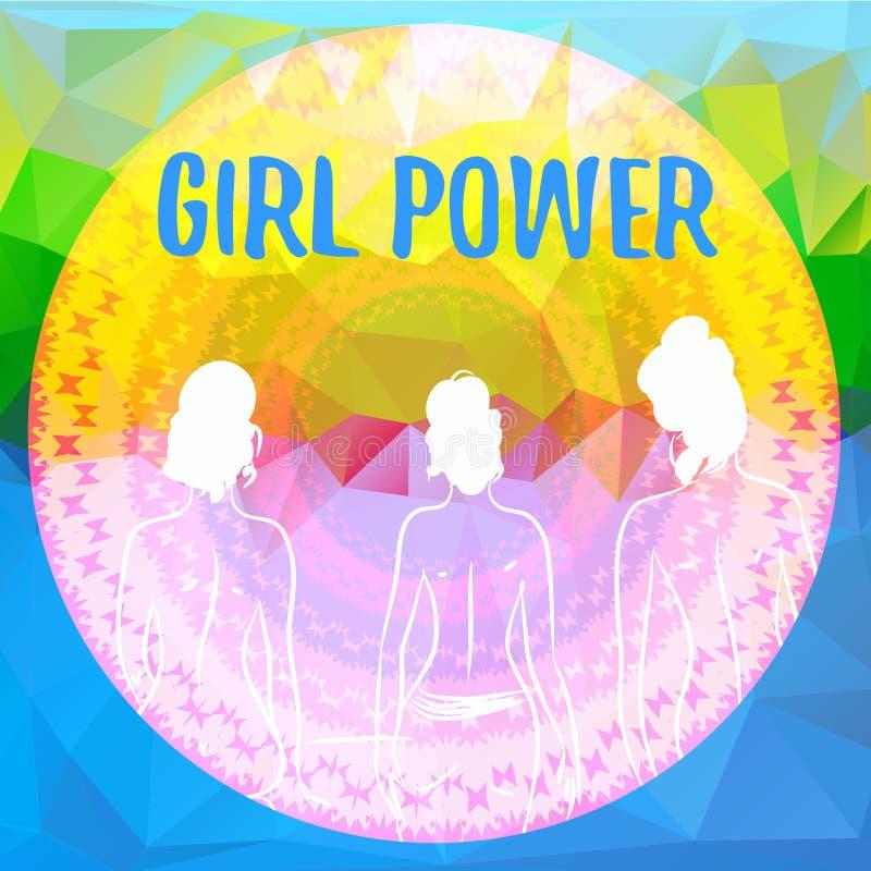 Drei Frauenfiguren auf polygonalem Hintergrund Illustration mit Phrase Mädchen-Energie Feminismuszitat vektor abbildung