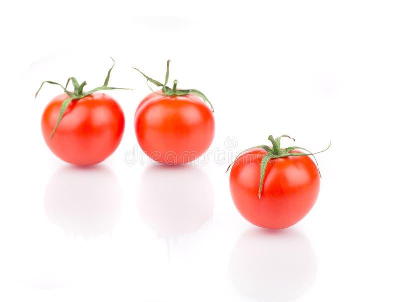 Drei frische reife Tomaten lizenzfreie stockfotos