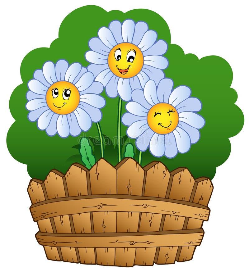 Drei Gänseblümchen mit Zaun stock abbildung