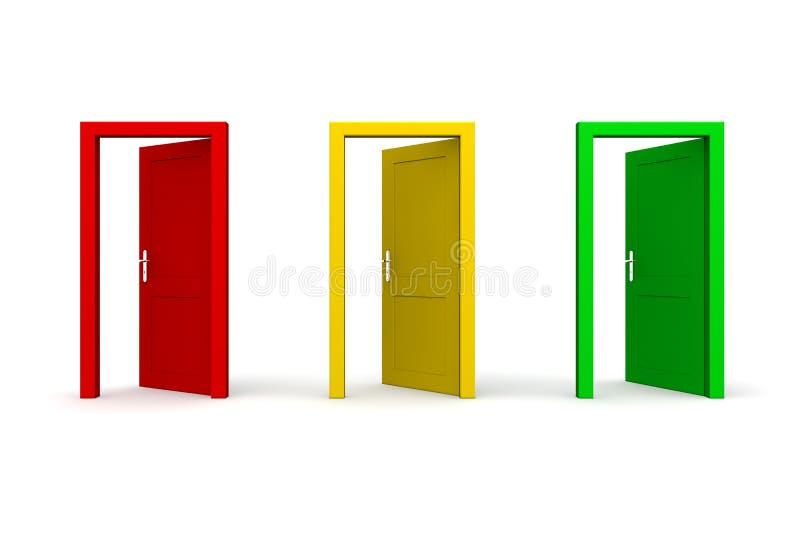 Drei geöffnete farbige Türen lizenzfreie abbildung