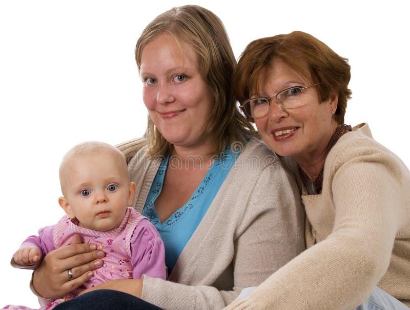 Drei Generationen 6 auf Weiß lizenzfreies stockbild