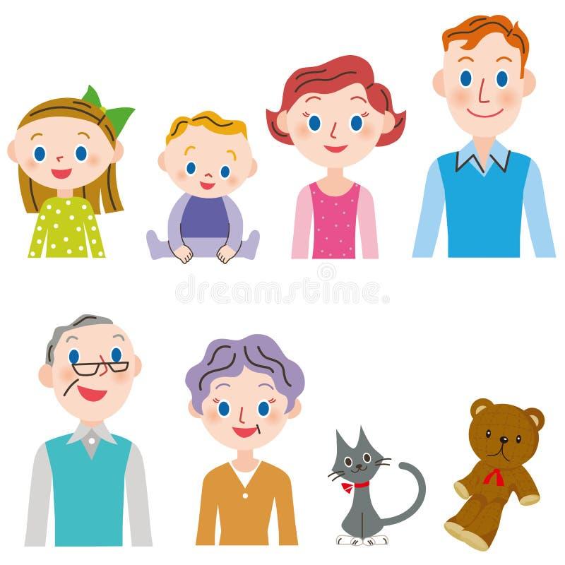 Drei-Generationsfamiliensatz stock abbildung