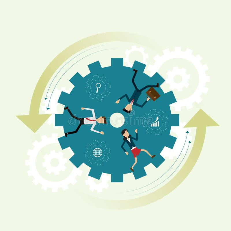 Drei Geschäftsleute, die inneres Gangrad laufen lassen, sind Teamwork zu s lizenzfreie abbildung