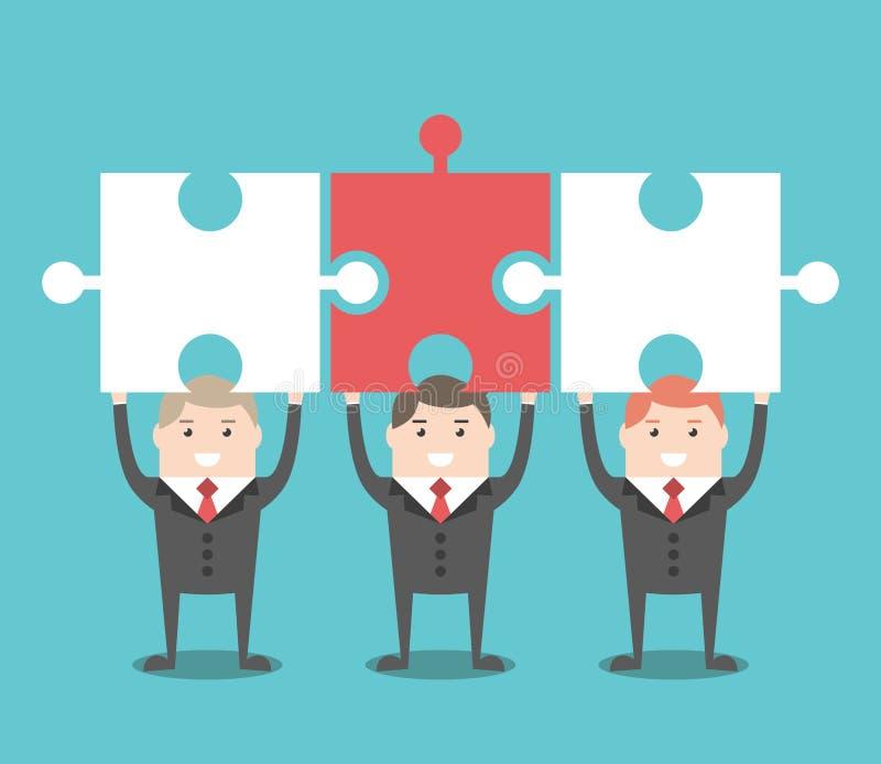 Drei Geschäftsmänner mit Puzzlespielen lizenzfreie abbildung