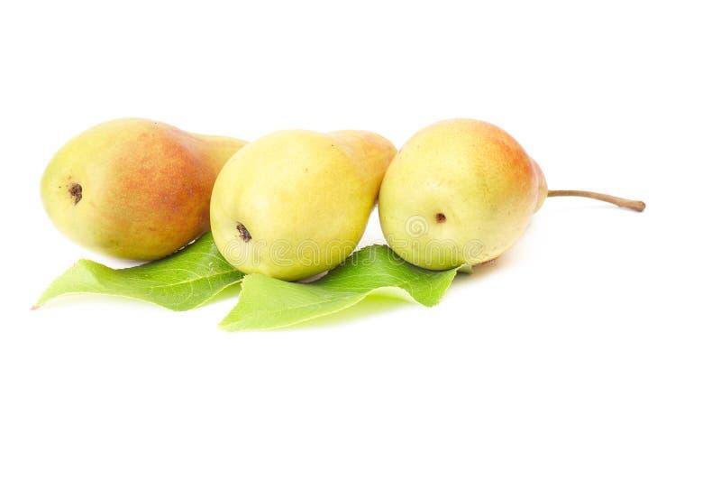 Drei geschmackvolle gelbe Birnen auf einem Weiß. stockfotos