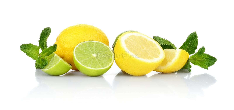 Drei geschnittene Zitronen mit Kalken mit Minze stockbilder
