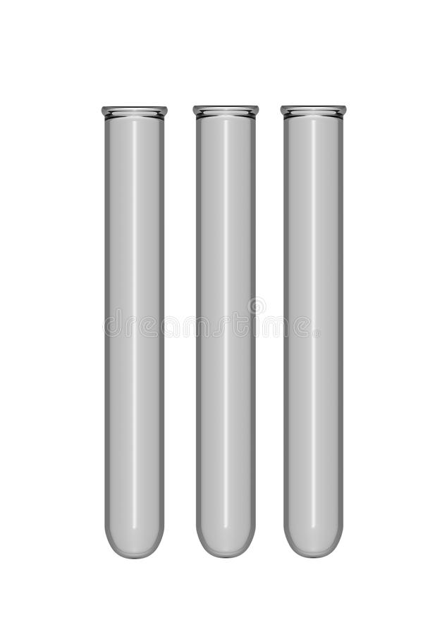 Drei getrennte Prüfungswanne auf weißem Hintergrund stock abbildung