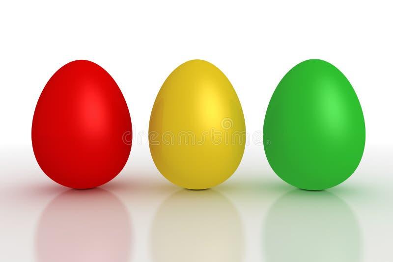Drei glänzende Eier in einer Zeile - rot, gelb, Grün stock abbildung