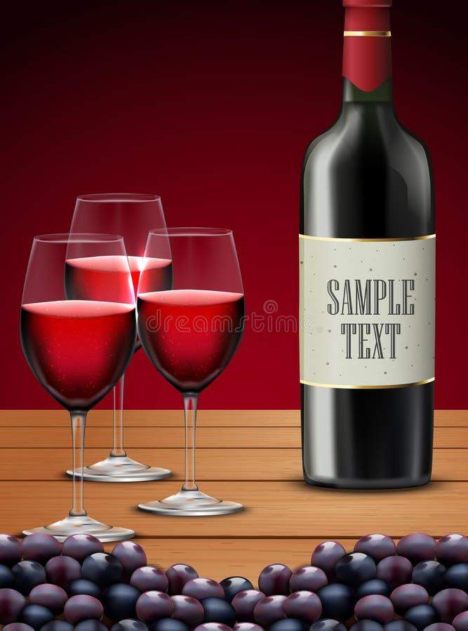 Drei Gläser Rotwein mit Flasche Champagner und Trauben trägt Früchte lizenzfreie abbildung
