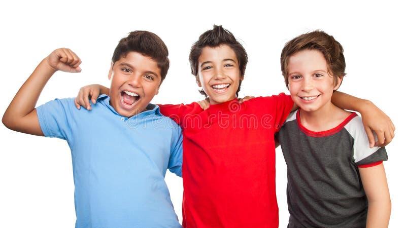 Drei glückliche Freunde stockfotografie