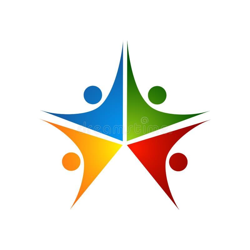 Drei glückliche motivierte Leute in einem runden bunten Logo vektor abbildung