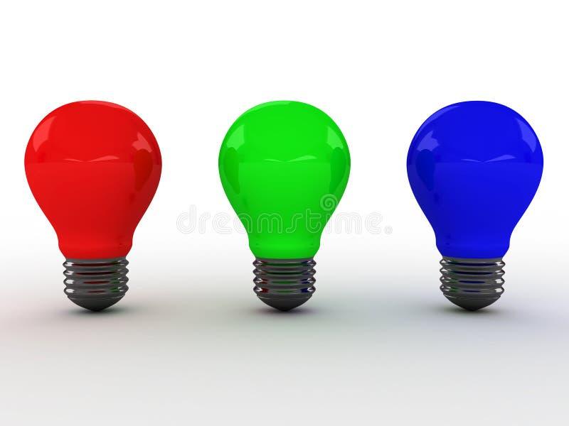 Drei Glühlampen mit RGB-Farben. Bild 3D vektor abbildung