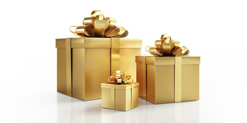 Drei goldene Geschenke mit goldenem Bogen lizenzfreie abbildung