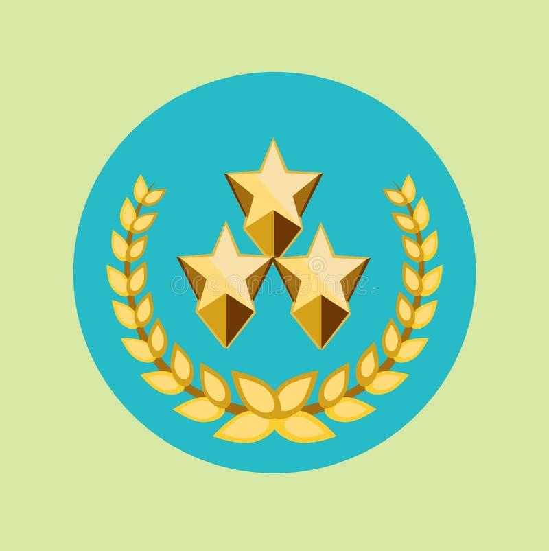 Drei goldene Sterne und goldene Kornkronenikone stock abbildung