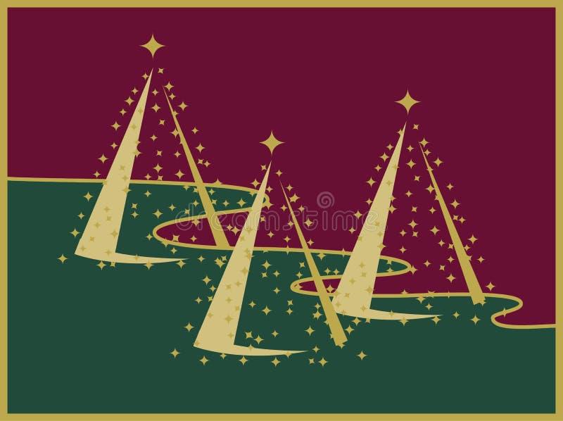 Drei Goldweihnachtsbäume auf roter und grüner Landschaft stock abbildung