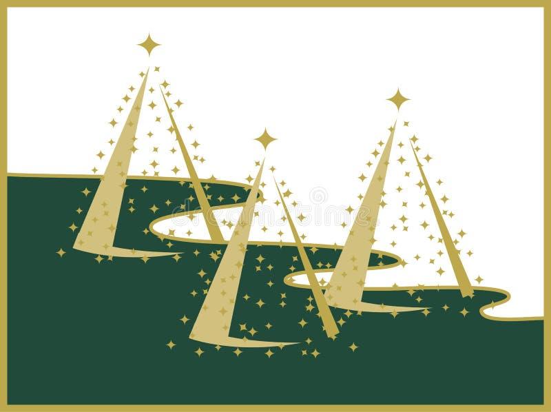 Drei Goldweihnachtsbäume auf weißer und grüner Landschaft stock abbildung