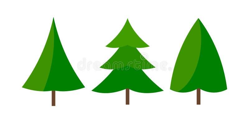 Drei grüne natürliche Weihnachtsbaumikonen lizenzfreie abbildung