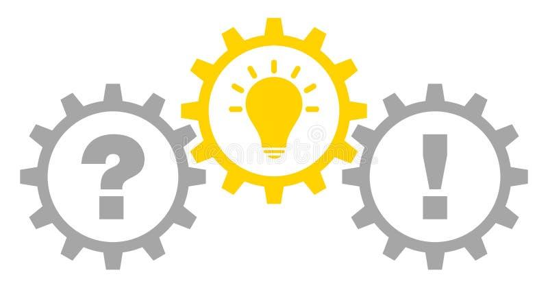 Drei grafische Gänge stellen Idee und Antwort Gray Yellow Outline in Frage lizenzfreie abbildung