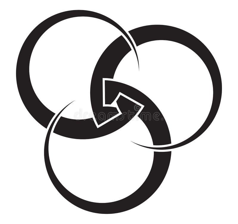 Drei griffen Kreise der variablen Stärke für Ihr Logo ineinander vektor abbildung
