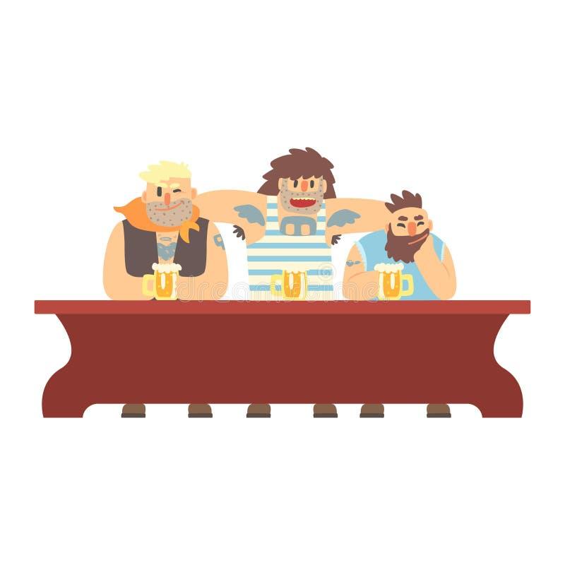 Drei Gruppen-Mitglieder mit Scull Tatoo trinkend am langen Tisch, an der Bierkneipe und am Verbrecher, die Muscly-Männer haben gu stock abbildung